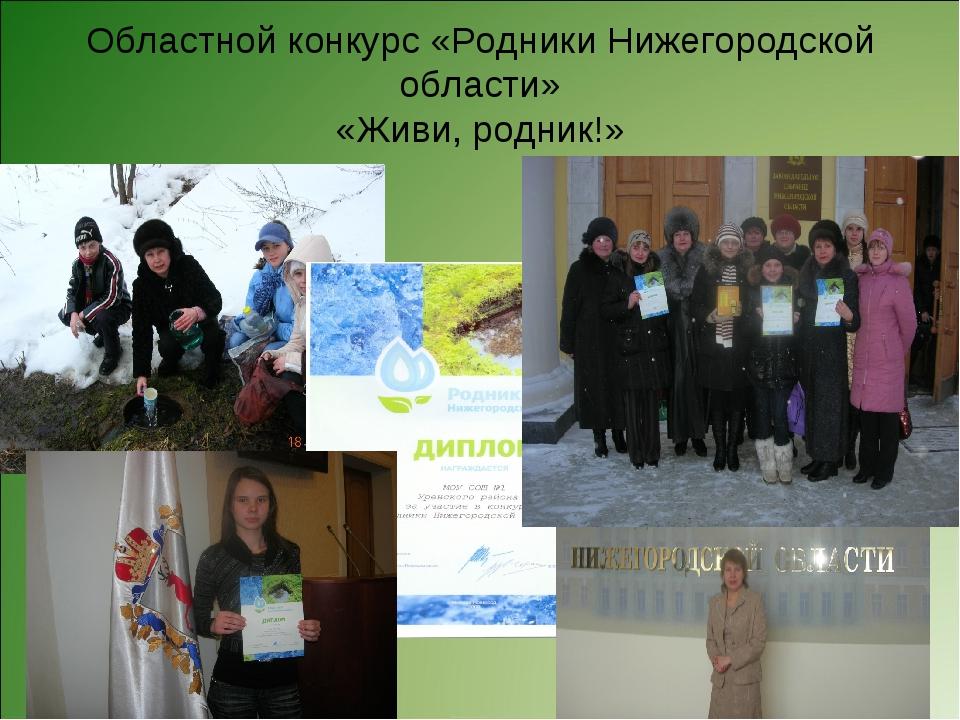 Областной конкурс «Родники Нижегородской области» «Живи, родник!»
