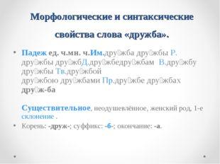Морфологические и синтаксические свойства слова «дружба». Падеж ед.ч.мн.ч.