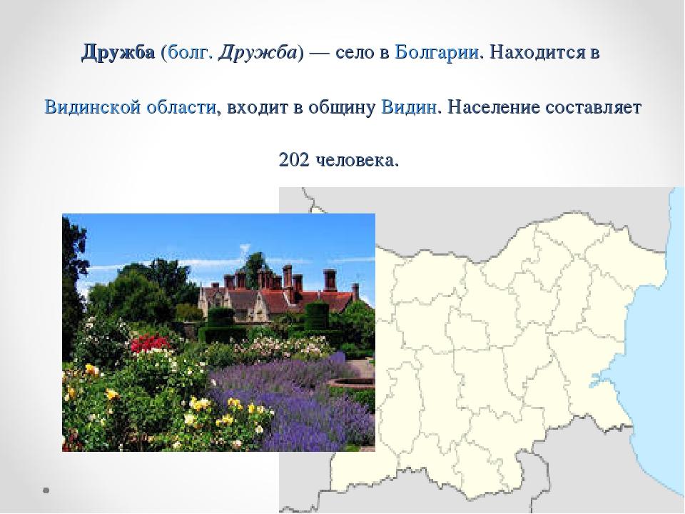 Дружба (болг. Дружба) — село в Болгарии. Находится в Видинской области, входи...