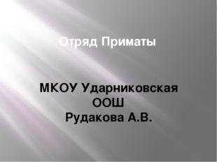 Отряд Приматы МКОУ Ударниковская ООШ Рудакова А.В.