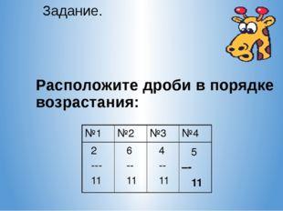 Расположите дроби в порядке возрастания: Задание. №1 №2 №3 №4 2 --- 11 6 --