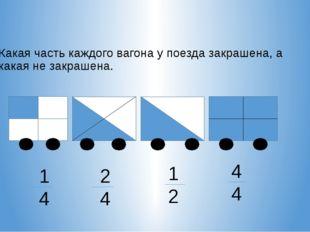 Какая часть каждого вагона у поезда закрашена, а какая не закрашена. 1 4 2 4