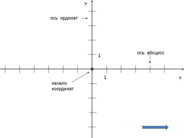 х Y 1 1 ось абсцисс ось ординат начало координат