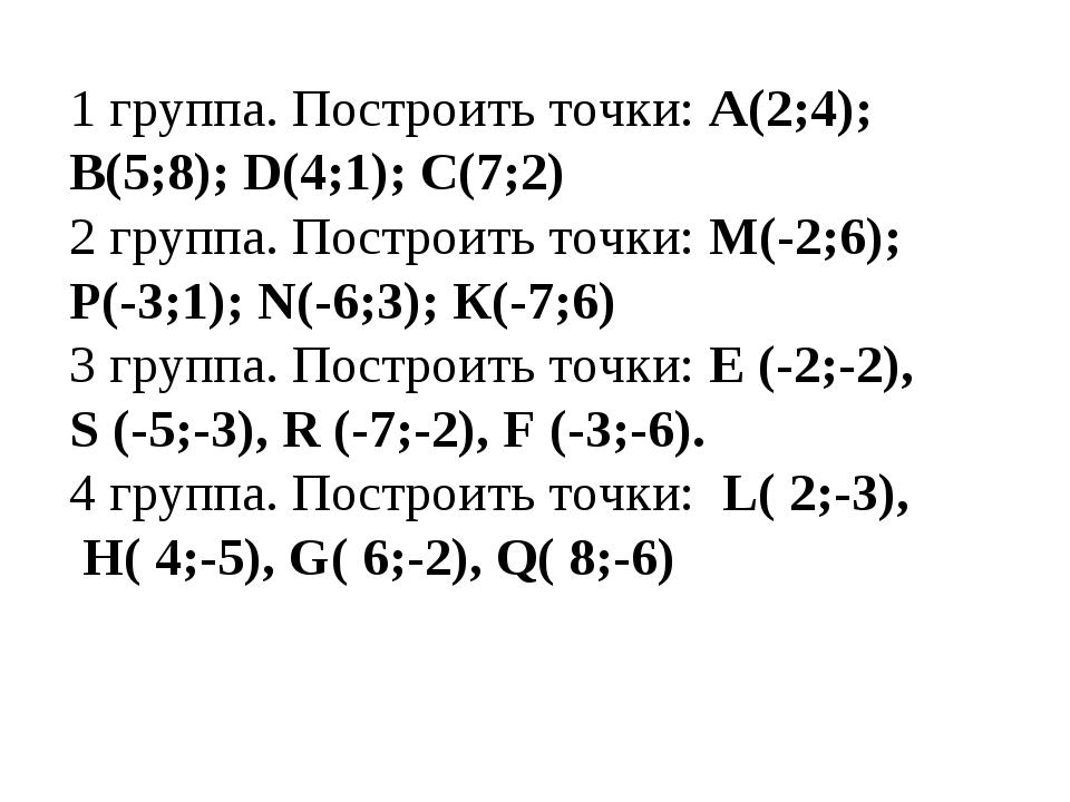 1 группа. Построить точки: А(2;4); В(5;8); D(4;1); С(7;2) 2 группа. Построить...