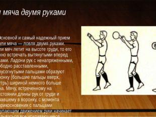 Ловля мяча двумя руками Основной и самый надежный прием ловли мяча — ловля дв