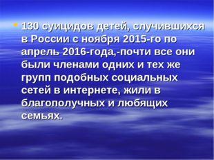 130 суицидов детей, случившихся в России с ноября 2015-го по апрель 2016-года