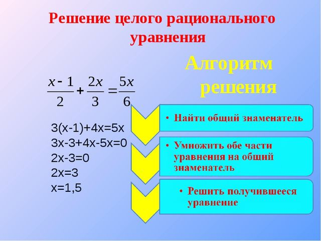 3(х-1)+4х=5х 3х-3+4х-5х=0 2х-3=0 2х=3 х=1,5 Решение целого рационального урав...