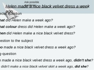 Helen made a nice black velvet dress a week ago. Ask possible questions: 3. S
