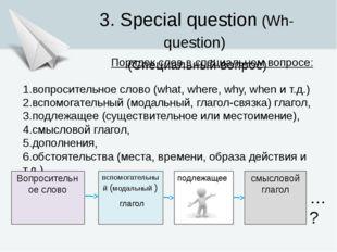 3. Special question (Wh-question) (Специальный вопрос) Порядок слов в специал