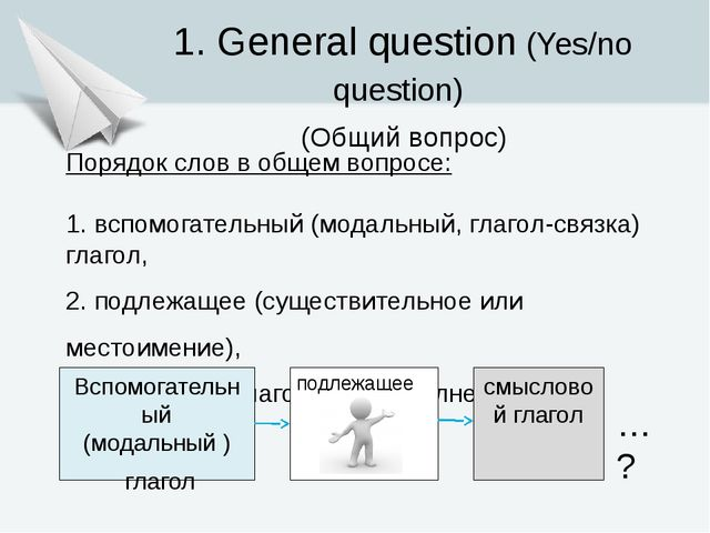 1. General question (Yes/no question) (Общий вопрос) Порядок слов в общем воп...