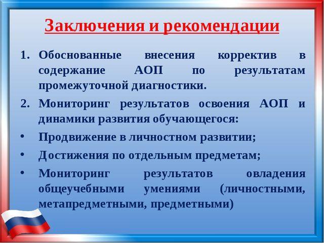 Заключения и рекомендации Обоснованные внесения корректив в содержание АОП по...