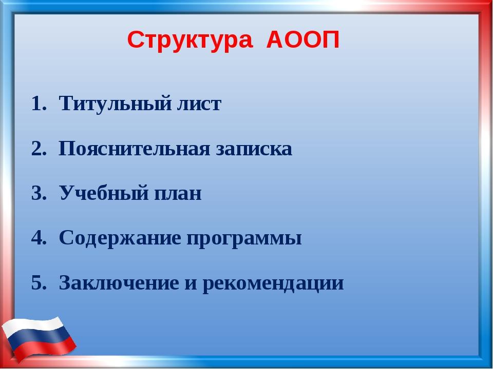 Структура АООП Титульный лист Пояснительная записка Учебный план Содержание п...