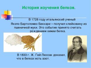 История изучения белков. В 1728 году итальянский ученый Якопо Бартоломео Бекк