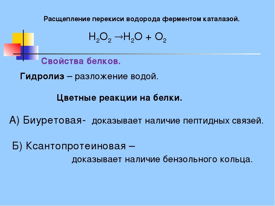 Расщепление перекиси водорода ферментом каталазой. H2O2H2O+O2 Цветные реа...