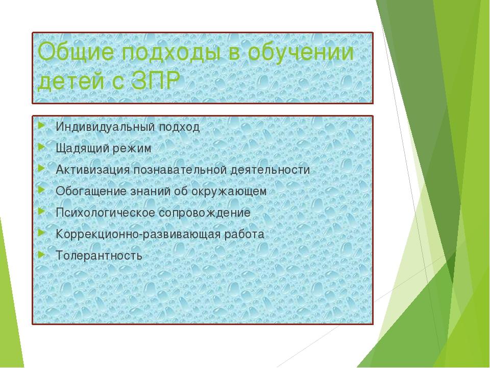 Общие подходы в обучении детей с ЗПР Индивидуальный подход Щадящий режим Акти...