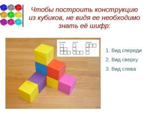 Чтобы построить конструкцию из кубиков, не видя ее необходимо знать её шифр: