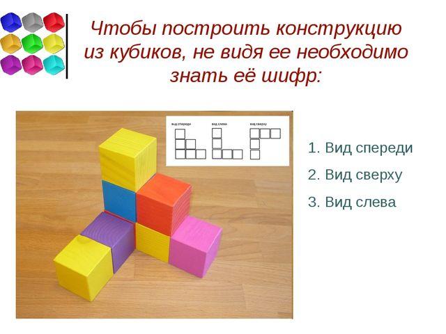 Чтобы построить конструкцию из кубиков, не видя ее необходимо знать её шифр:...