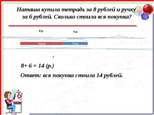 Наташа купила тетрадь за 8 рублей и ручку за 6 рублей. Сколько стоила вся пок