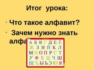 Итог урока: Что такое алфавит? Зачем нужно знать алфавит?