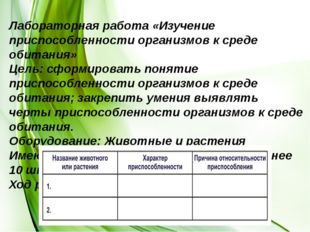 Лабораторная работа «Изучение приспособленности организмов к среде обитания»