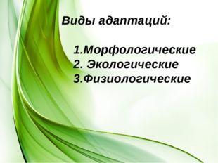 Виды адаптаций: 1.Морфологические 2. Экологические 3.Физиологические