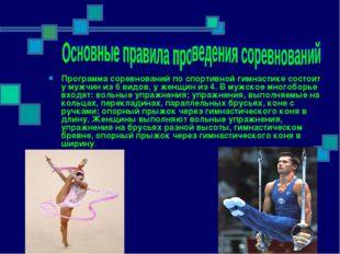 Программа соревнований по спортивной гимнастике состоит у мужчин из 6 видов,