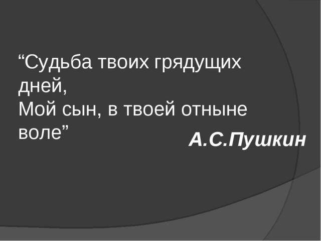 """""""Судьба твоих грядущих дней, Мой сын, в твоей отныне воле"""" А.С.Пушкин"""