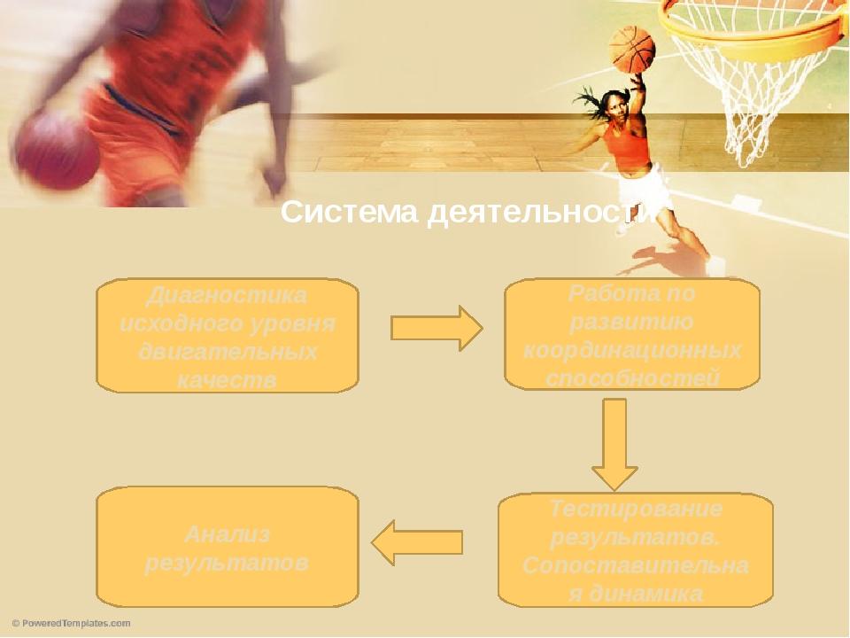 Система деятельности Диагностика исходного уровня двигательных качеств Работа...