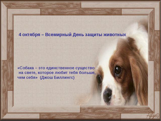 4 октября – Всемирный День защиты животных «Собака – это единственное существ...
