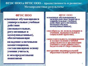 ФГОС НОО и ФГОС ООО - преемственность и развитие: Метапредметные результаты Ф