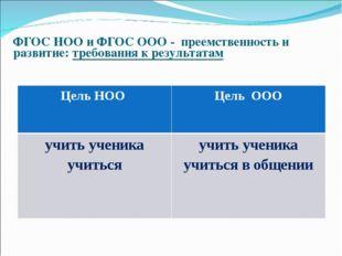 ФГОС НОО и ФГОС ООО - преемственность и развитие: требования к результатам Ц