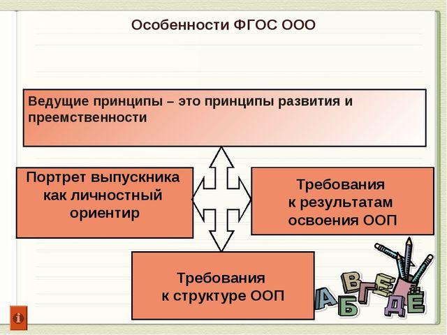 Особенности ФГОС ООО Портрет выпускника как личностный ориентир Требования к...