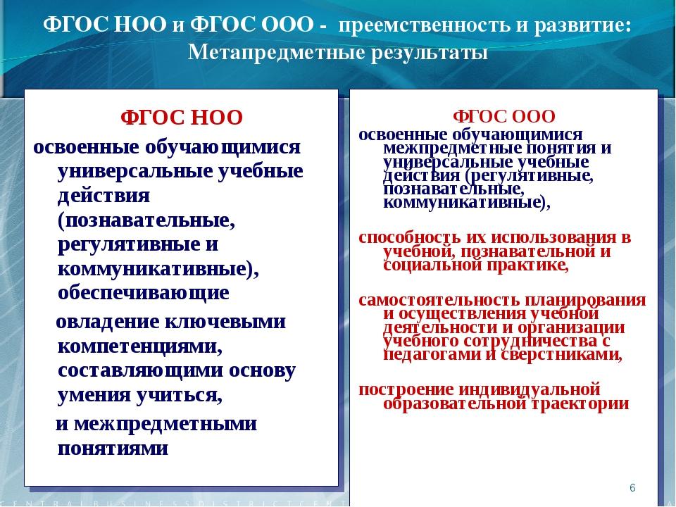 ФГОС НОО и ФГОС ООО - преемственность и развитие: Метапредметные результаты Ф...