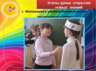 Этапы урока открытия новых знаний 1. Мотивация к учебной деятельности (органи