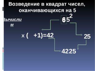 6 5 2 2 Х ( +1)=42 Вычислим 6 6 5 42 Возведение в квадрат чисел, оканчивающих