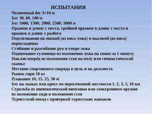 ИСПЫТАНИЯ Челночный бег 3×10 м Бег30, 60, 100 м Бег1000; 1500; 2000; 2500;