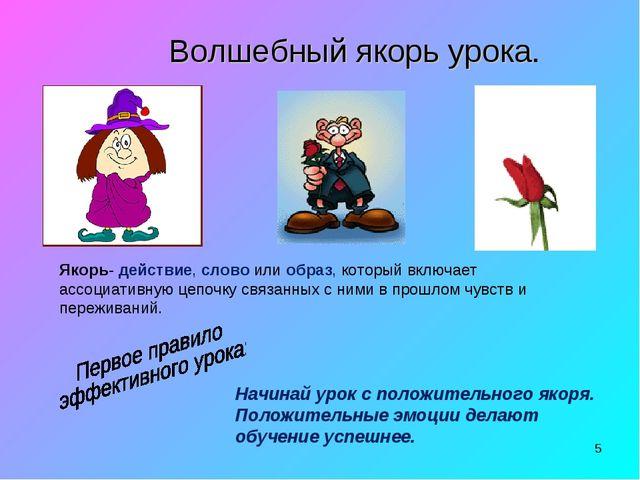 * Волшебный якорь урока. Якорь- действие, слово или образ, который включает а...