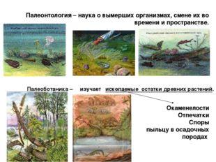 Палеонтология – наука о вымерших организмах, смене их во времени и пространс
