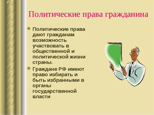 Политические права гражданина Политические права дают гражданам возможность у...