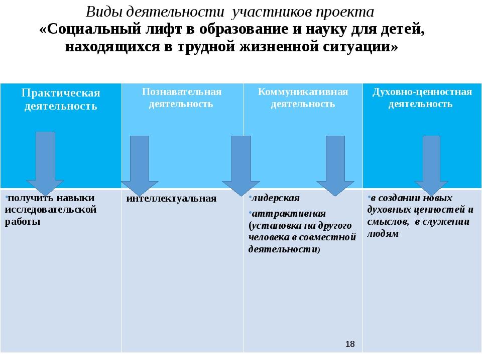 Виды деятельности участников проекта «Социальный лифт в образование и науку д...
