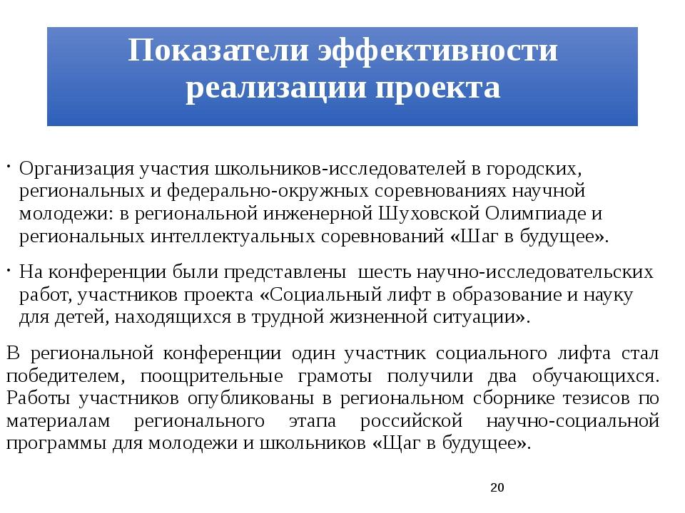 Показатели эффективности реализации проекта Организация участия школьников-ис...