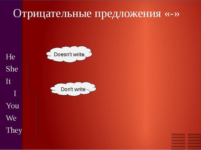 Отрицательные предложения «-» He She It I You We They Doesn't write Don't write