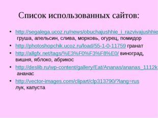 Список использованных сайтов: http://segalega.ucoz.ru/news/obuchajushhie_i_ra