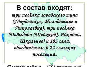 В состав входят: три посёлка городского типа (Гвардейское, Молодёжное и Никол