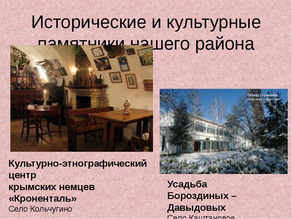 Исторические и культурные памятники нашего района Культурно-этнографический ц...