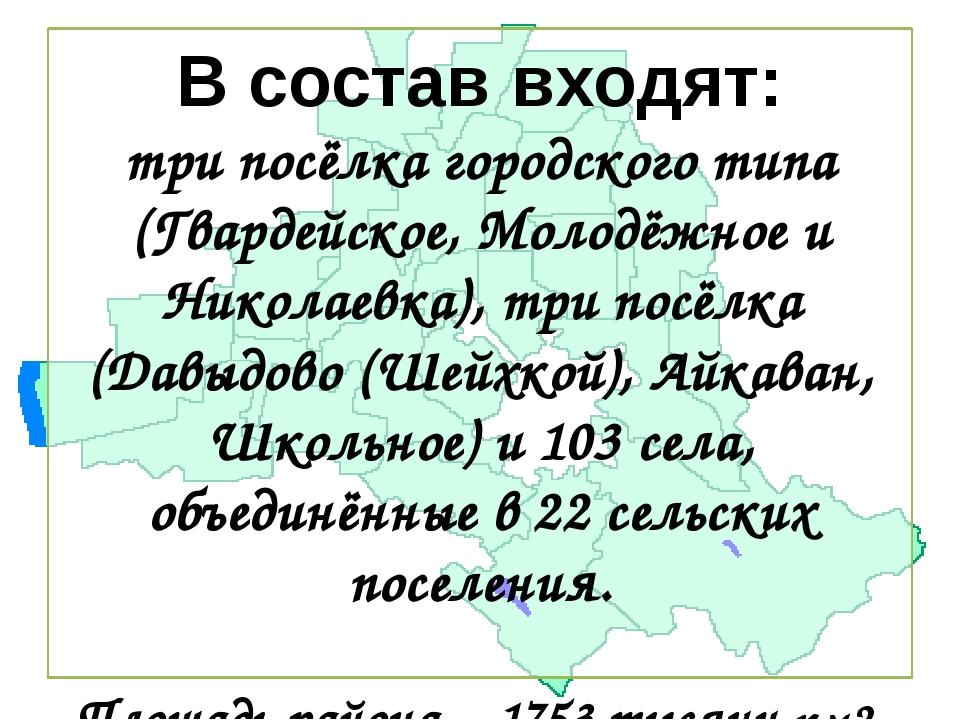 В состав входят: три посёлка городского типа (Гвардейское, Молодёжное и Никол...