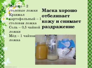 Молоко – 2 столовые ложки Крахмал картофельный – 1 столовая ложка Соль – 0,5
