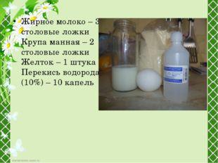Жирное молоко – 3 столовые ложки Крупа манная – 2 столовые ложки Желток – 1 ш