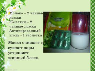 Молоко – 2 чайные ложки Желатин – 2 чайные ложки Активированный уголь - 1 таб