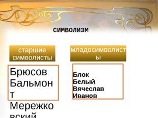 старшие символисты СИМВОЛИЗМ младосимволисты Брюсов Бальмонт Мережковский Гип